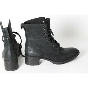 VERA WANG Black Leather Lace Up Ankle Boots Booties Size 8M EUR 36 6